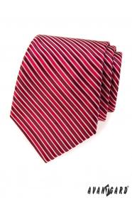Vörös nyakkendő, bordó csíkkal
