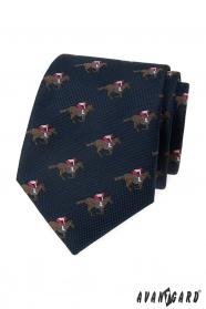 Kék nyakkendő, versenylovas minta