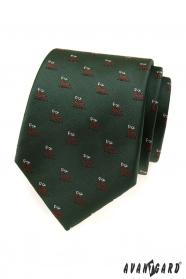 Zöld nyakkendő szarvas motívummal