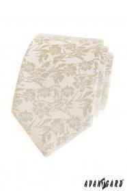 Krém nyakkendő virágmintás