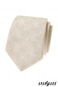 Krémes nyakkendő Paisley mintával