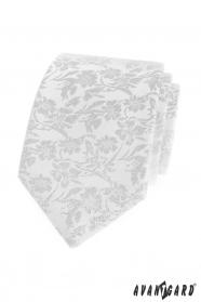 Fehér nyakkendő virágmintás