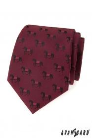 Bordó nyakkendő minta fekete ló