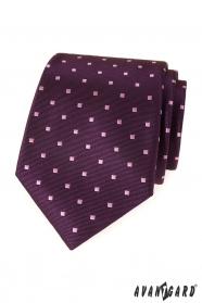Lila férfi nyakkendő négyzetekkel