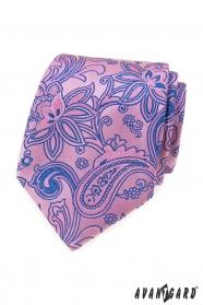 Rózsaszín nyakkendő kék Paisley mintával