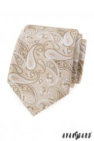 Bézs nyakkendő paisley mintával