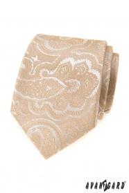 Bézs nyakkendő mintával