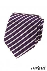 Lila férfi nyakkendő csíkokkal