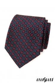 Kék nyakkendő, kék-piros mintával