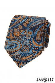 Kék nyakkendő színes paisley mintával