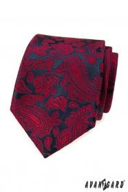 Sötétkék nyakkendő piros paisley mintával