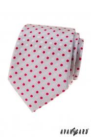 Szürke nyakkendő piros pöttyökkel