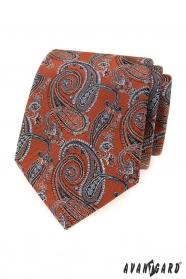 Fahéj barna nyakkendő paisley motívumokkal