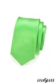 Keskeny zöld nyakkendő, fényes