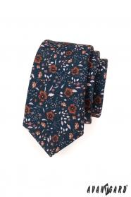 Kék nyakkendő SLIM barna virágok