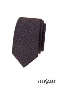 Kék slim nyakkendő barna mintával