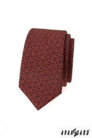 Barna slim nyakkendő sötétkék mintával