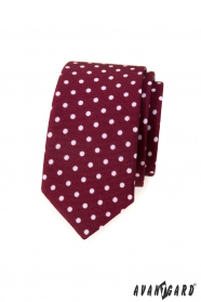 Slim bordó nyakkendő, fehér pöttyökkel