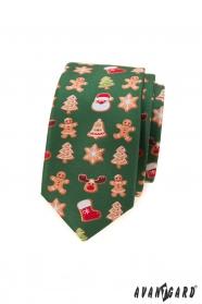 Zöld keskeny nyakkendő karácsonyi motívummal