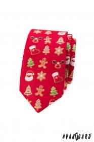 Piros keskeny nyakkendő karácsonyi motívummal