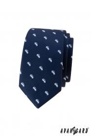 Kék vékony nyakkendő fehér motívummal