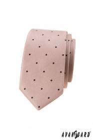 Bézs színű, vékony nyakkendő, kis fekete pöttyökkel