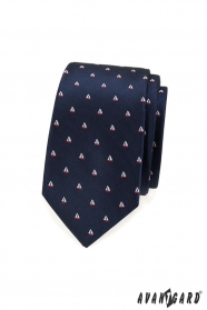 Kék keskeny nyakkendő, minta vitorlás