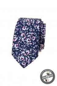 Sötét kék keskeny nyakkendő rózsaszín virágokkal
