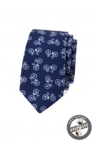 Kék pamut keskeny nyakkendő kerékpár motívummal