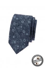 Kék slim nyakkendő farmer virággal