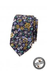 Sötét lila keskeny nyakkendő színes virágokkal