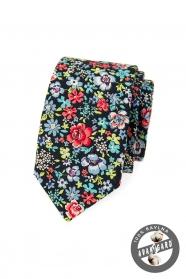 Kék SLIM nyakkendő színes virágokkal