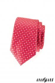 Keskeny sötét rózsaszín nyakkendő, matt csillagokkal