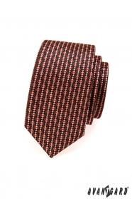 SLIM nyakkendő barna és piros tónusú