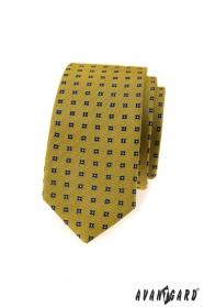 Sötét sárga vékony nyakkendő, kék mintával