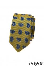 Zöld vékony nyakkendő, kék paisley minta