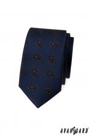 Kék keskeny nyakkendő kis paisley mintával