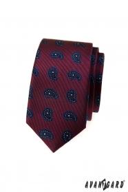Bordó keskeny nyakkendő kis paisley mintával