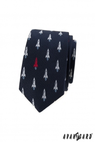 Kék keskeny nyakkendő, rakéta mintával