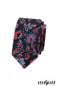 Férfi keskeny nyakkendő, színes virágokkal