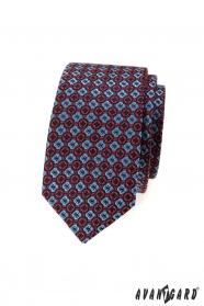 Férfi keskeny nyakkendő, kék-piros mintával