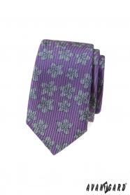 Lila keskeny nyakkendő szürke mintával