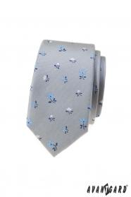 Szürke keskeny nyakkendő virággal