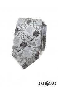 Keskeny nyakkendő szürke mintával