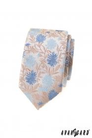 Bézs karcsú nyakkendő kék virágokkal