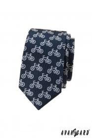 Kék karcsú nyakkendő kerékpár motívummal
