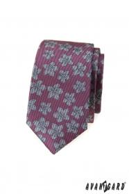 Sötét rózsaszín keskeny nyakkendő szürke virágokkal