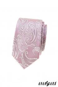 Rózsaszín keskeny nyakkendő paisley motívummal