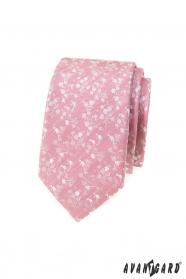 Por rózsaszín keskeny nyakkendő, fehér mintával