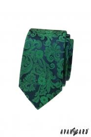 Keskeny nyakkendő, zöld mintával